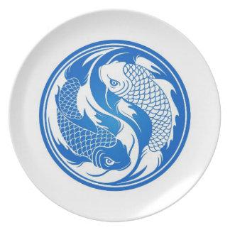 Blue and White Yin Yang Koi Fish Plate