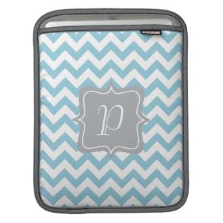 Blue and White Zigzag Monogram iPad Sleeve