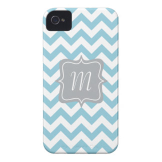 Blue and White Zigzag Monogram iPhone 4 Case