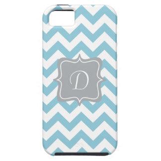 Blue and White Zigzag Monogram iPhone 5 Cases