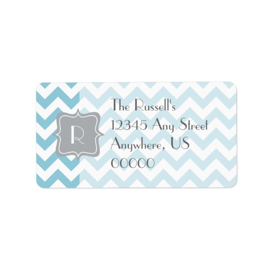Blue and White Zigzag Monogram Label