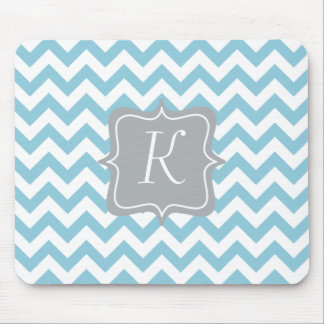 Blue and White Zigzag Monogram Mouse Pad