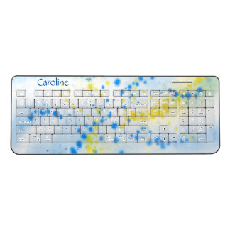 Blue and Yellow Abstract Paint Splatter Your Name Wireless Keyboard