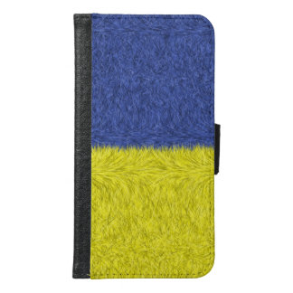 Blue and yellow abstract pattern samsung galaxy s6 wallet case
