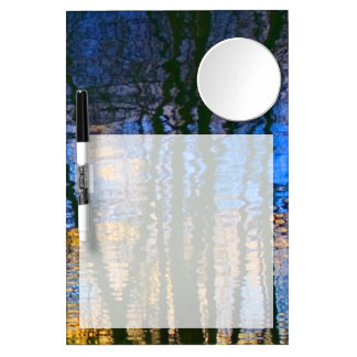 Blue and Yellow Abstract Water Reflections Dry Erase Board With Mirror