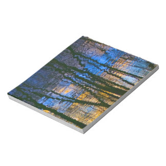 Blue and Yellow Abstract Water Reflections Notepad