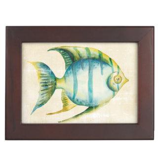 Blue and Yellow Aquarium Fish Keepsake Box