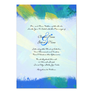 Blue and Yellow Artistic Wedding Invitation