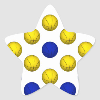 Blue and Yellow Basketball Pattern Star Sticker