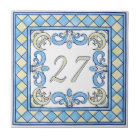 Blue and Yellow Big House Number Tile