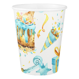 Blue and Yellow Birthday Paper Cup