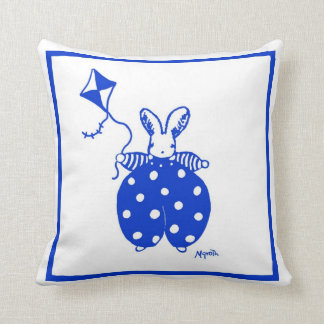 Blue and yellow bunny with kite pillow