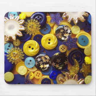 Blue and Yellow Button Collage Mouse Pad