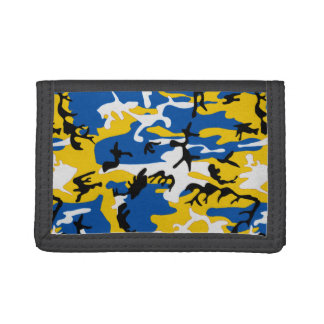 Blue and Yellow Camo Tri-fold Wallets