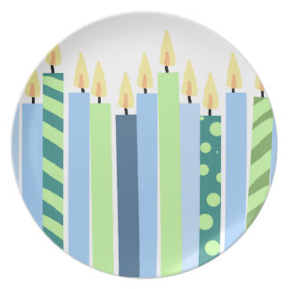 Blue and Yellow Candles Boys Birthday Plate