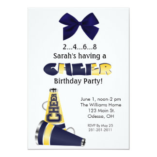 Blue and Yellow Cheer Birthday Invitation