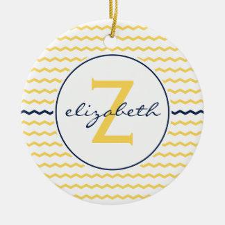 Blue and Yellow Chevron Monogram Christmas Ornament