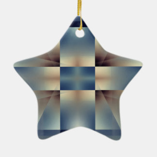Blue and yellow cross pattern christmas ornament
