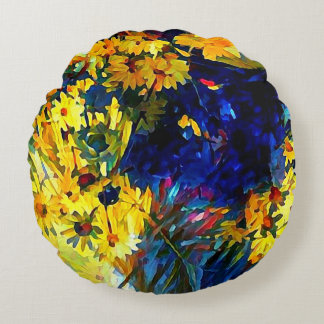 Blue and Yellow Daisies in Flower Vases Pouf Pill Round Cushion