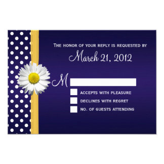 Blue and Yellow Daisy RSVP Card Personalized Invitation