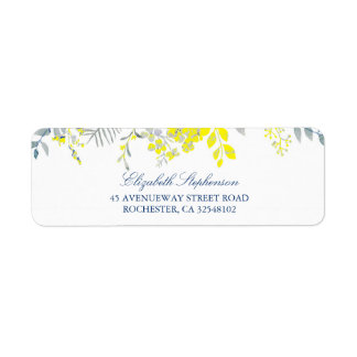 Blue and Yellow Floral Return Address Label