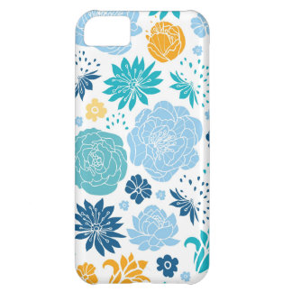 Blue and yellow flower silhouettes pattern iPhone 5C case