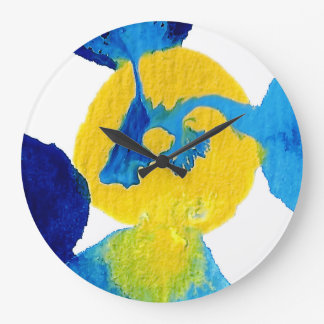 Blue and Yellow Flowing Paint Abstract Art Wallclocks