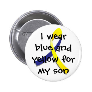 blue and yellow for my son Down Syndrome Button