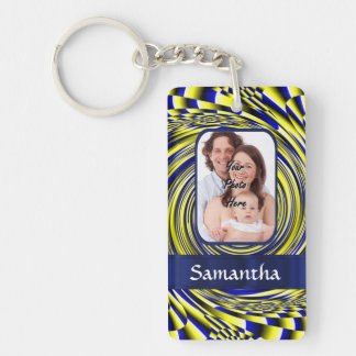 Blue and yellow fractal Double-Sided rectangular acrylic key ring