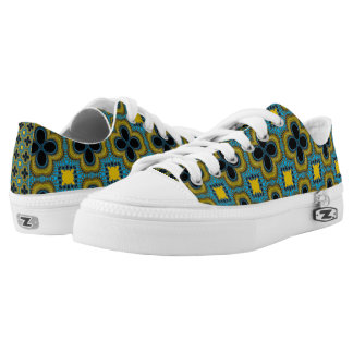 Blue and Yellow Geometric Pattern Floral Sneakers