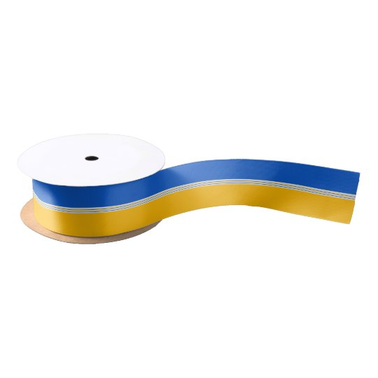 Blue and Yellow Gold Stripes Satin Ribbon
