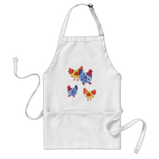 blue and yellow hens several apron