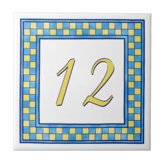 Blue and Yellow House Number Small Square Tile