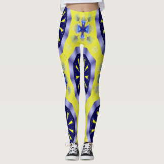 blue and yellow kaleidoscope Legging