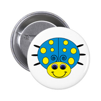 Blue and Yellow Ladybug Button