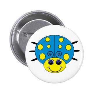 Blue and Yellow Ladybug Button