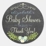 Blue and Yellow Laurel Chalkboard Look Baby Shower Round Sticker