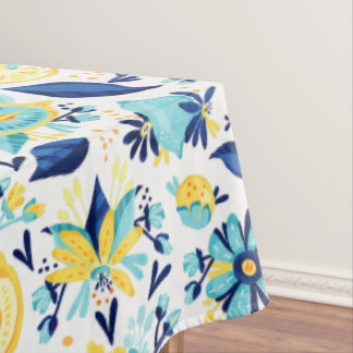 Blue And Yellow Lemons And Flowers Tablecloth