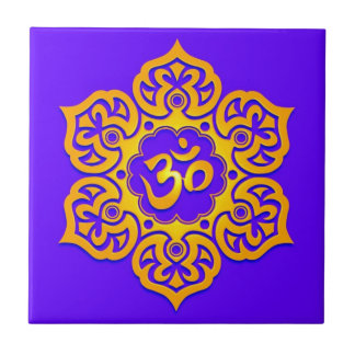 Blue and Yellow Lotus Flower Om Small Square Tile