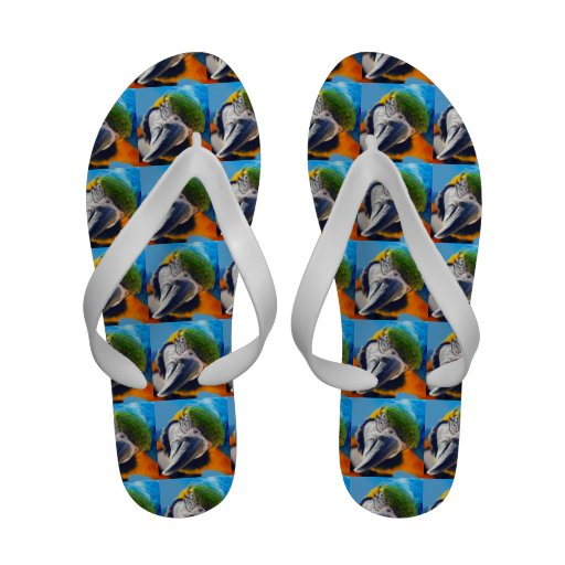 Blue and Yellow Macaw Flip-Flops