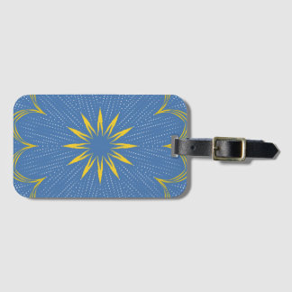 Blue and yellow mandala bag tag