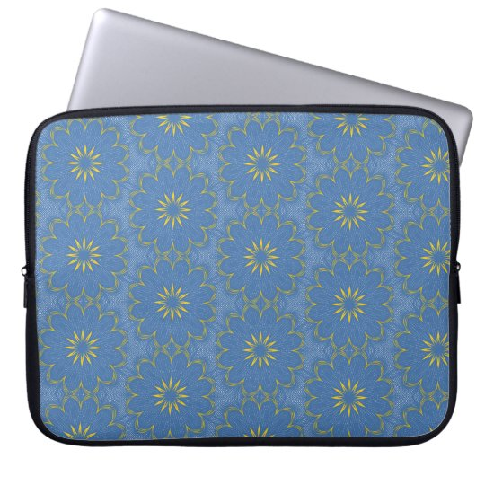 Blue and yellow mandala computer sleeve
