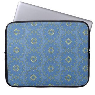 Blue and yellow mandala laptop sleeve