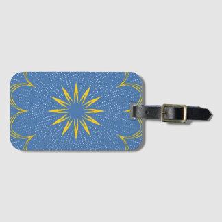 Blue and yellow mandala luggage tag