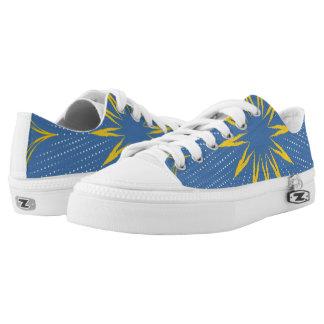 Blue and yellow mandala printed shoes