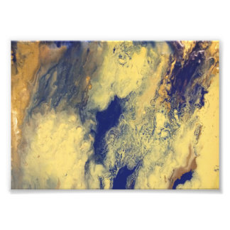 Blue and Yellow Marble Print