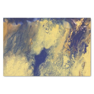 Blue and Yellow Marble Tissue Paper