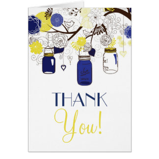 Blue and Yellow Mason Jars Wedding Thank You Card