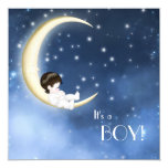 Blue and Yellow Moon Baby Boy Shower 13 Cm X 13 Cm Square Invitation Card