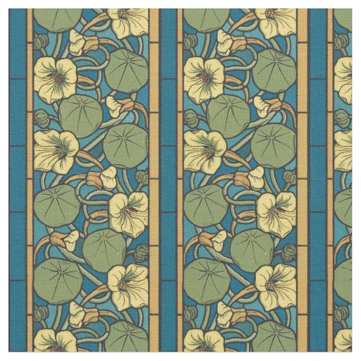 Blue and Yellow Nasturtium Pattern Fabric